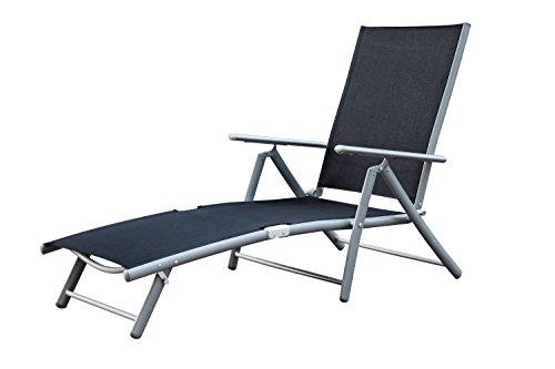 MERXX Deckchair aus Aluminium Bezug schwarz