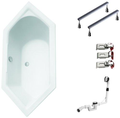 Mybath-BWSET108WF-Badewannen-komplett-Set-inklusiv-Acryl-Sechseck-Fugestell-und-ber-Ablaufgarnitur-190-x-90-cm-0