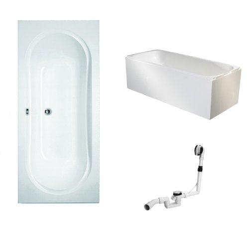 Mybath-BWSET110WT-Badewannen-komplett-Set-inklusiv-Acryl-Rechteck-Badewanne-Trger-und-ber-Ablaufgarnitur-180-x-80-cm-0
