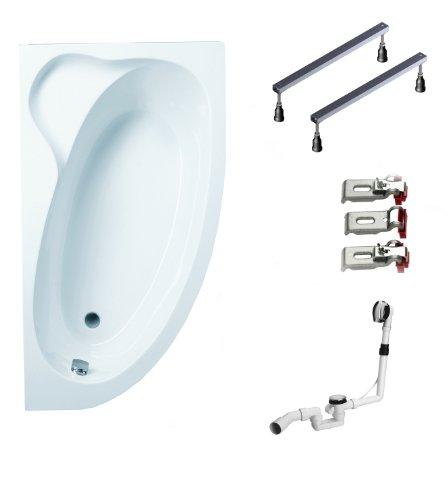 Mybath BWSET115KFR Badewannen komplett Set inklusiv Acryl Raumspar rechts Fußgestell und Über- Ablaufgarnitur, 160 x 90 cm