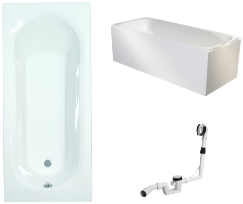 Mybath-BWSET126ET-Badewannen-komplett-Set-inklusiv-Acryl-Rechteck-Trger-und-ber-Ablaufgarnitur-180-x-80-cm-0