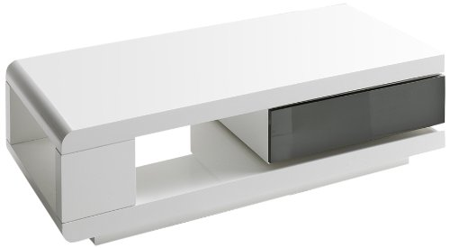 Robas Lund 59031WG4 Couchtisch Ida, 1 Schubkasten grau, 360 Grad drehbar, 120 x 60 x 36 cm, MDF Hochglanz weiß