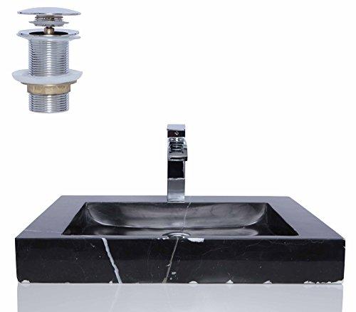 Schwarz Marmor Nero Marquina Stein rechteckig Waschbecken/Spüle + kostenlosem Abfluss