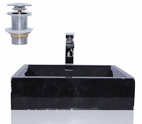 Schwarz Marmor Nero Marquina rechteckig Waschbecken/Spüle + kostenlosem Abfluss