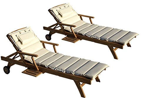 Teak Holz Liege Gartenliege Sonnenliege 2 Stueck + Auflage Creme11