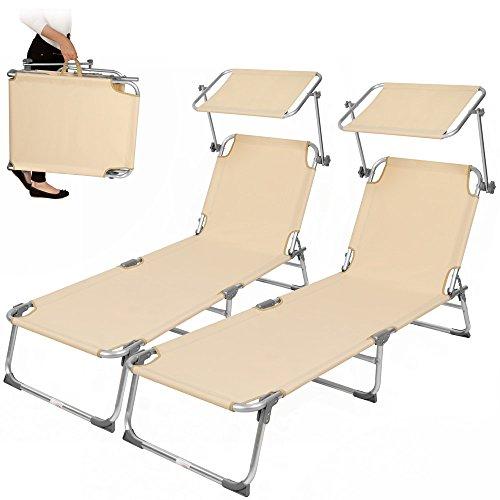 TecTake 2x Aluminium Gartenliege Sonnenliege klappbar mit Sonnendach 190cm beige