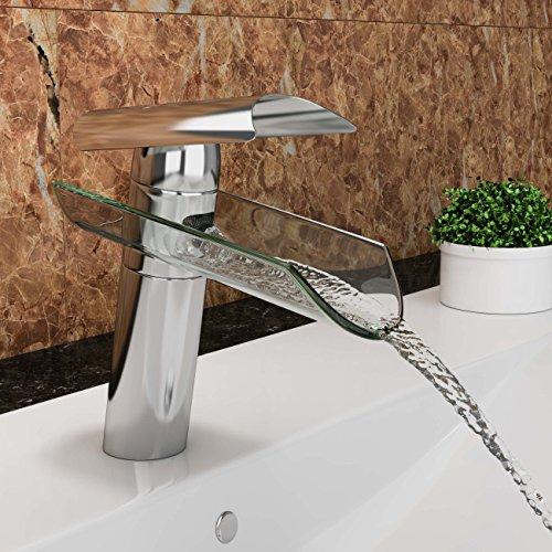 """VILSTEIN© Waschtisch-Armatur Einhebelmischer Einhand Wasserhahn mit Wasserfall-Effekt Armatur für Bad Badezimmer Waschbecken, Verchromt, Glas-Auslauf, 18cm, Standard Anschluss 1/2"""""""