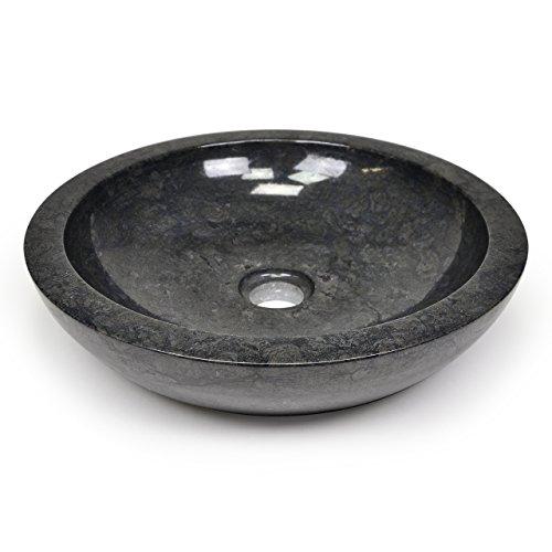 Waschbecken Naturstein schwarz Marmor Aufsatzwaschbecken Handwaschbecken DIVERO