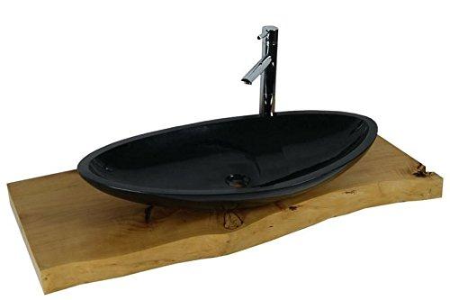 Waschbecken aus Naturstein, Granit, Model Monaco groß, schwarz, G684, 80x43cm