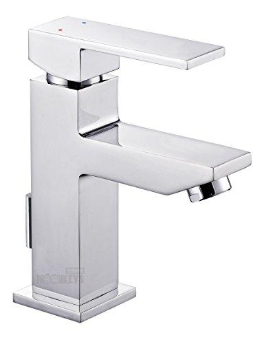 Waschtischarmatur Wasserhahn Einhebelmischer Waschbeckenarmatur eckige Armatur Chrom