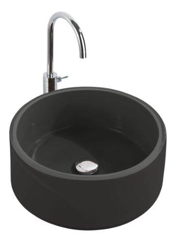 Wenko 18917100 Waschbecken Tropic Black - mit Pop-Up Abfluss, Polyresin, Ø 43 x 16 cm, schwarz