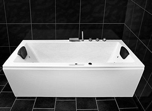 Whirlpool Badewanne 8 Rückendüsen Massagen Düsen LED Spa 170 x 75 cm Modell: Konstanz Basic
