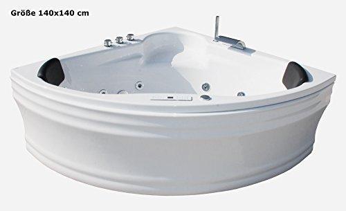 Whirlpool-Badewanne-Karibik-Basic-MADE-IN-GERMANY-140-x-140-150-x-150-cm-mit-13-Massage-Dsen-Unterwasser-Beleuchtung-Licht-Balboa-MIT-Armaturen-Eckwanne-Jakuzzi-Spa-runde-Eckbadewanne-innen-gnstig-0