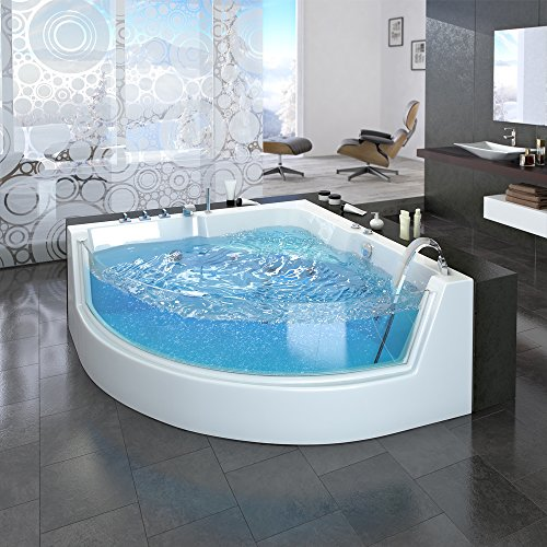 Whirlpool-Eckbadewanne-Badewanne-Wanne-2-Personen-Heizung-Pool-Luxus-Panorama-Fenster-0