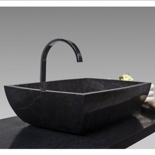 Wohnfreuden Marmor Waschbecken MARA rechteckig poliert - schwarz (11x50x35cm)