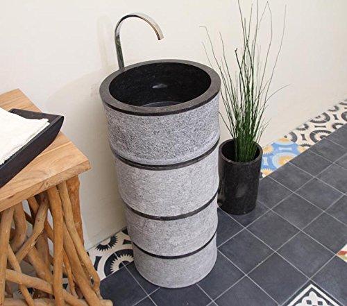 Wohnfreuden Marmor Waschtischsäule BAMBOO PEDESTAL 90x40x40cm schwarz