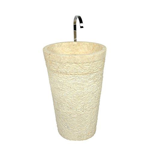Wohnfreuden Marmor Waschtischsäule oval - creme 50x35x90cm