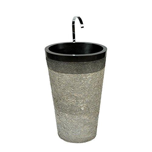Wohnfreuden Marmor Waschtischsäule oval - schwarz 50x35x90cm