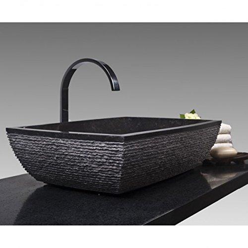 Wohnfreuden Naturstein Marmor Waschbecken MARA Waschschale rechteckig gehämmert - schwarz 50x35 cm
