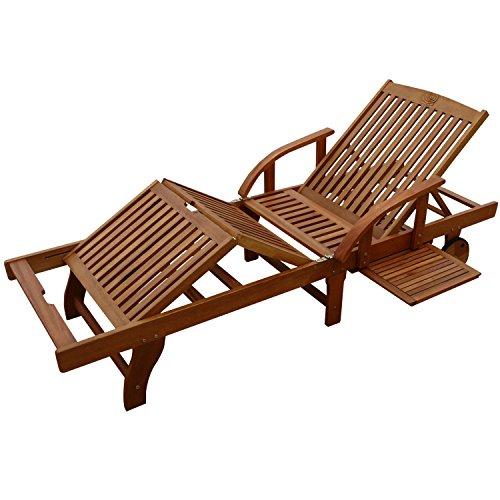indoba® IND-70305-SL - Serie Sun Shine - Gartenliege aus Holz FSC zertifiziert - kappbar, mit ausziehbarer Ablage, verstellbares Kopfteil und Mittelteil