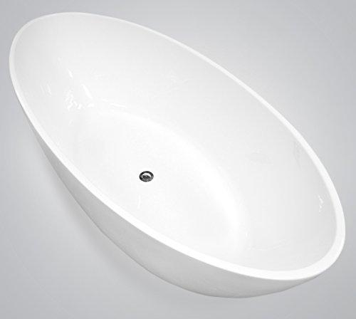 """perfect-spa Freistehende Badewanne """"Turin"""" Wanne inkl. Ab- und Überlauf Exclusive freistehende Badewanne Acrylwanne Wanne Dusche Bad"""