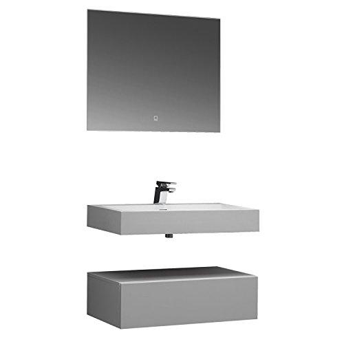 STONEART Badmöbel LP4508 SET weiß 80x48cm glänzend