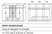 Rauch Kleiderschrank 6-türig, 2 Spiegeltüren, 6 Schubkästen, Eiche sonoma-alpinweiß++LAGERWARE++SOFORT LIEFERBAR++ 1