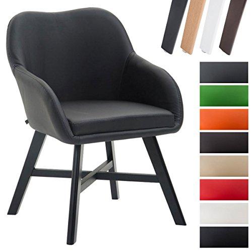 CLP Esszimmerstuhl KEPLER mit Kunstlederbezug, Wartezimmerstuhl mit Armlehnen, Besucherstuhl mit Buchenholzgestell, Küchenstuhl, Schwarz, Gestellfarbe: Schwarz