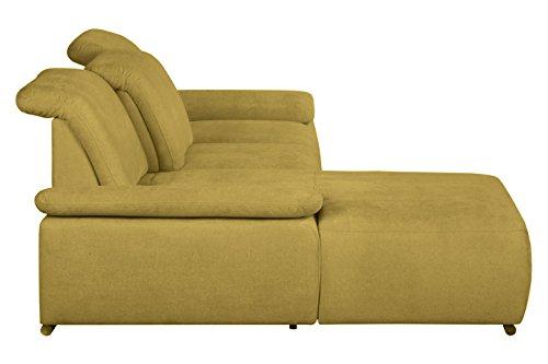 Cavadore Polsterecke Tabagos / Ecksofa mit Longchair links / Sitztiefenverstellung / Kopfteilverstellung / Armteilfunktion / 283x85-96x187 (B x H x T) / Farbe: Curry (gelb)