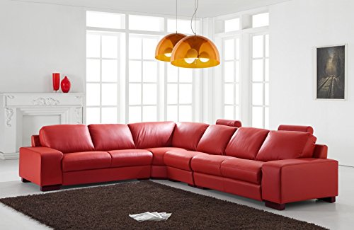 Design Voll-Leder Ledergarnitur Ledersofa Ecksofa-Sofa-Garnitur-Eckgruppe 5010-L-8401