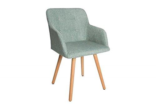 DuNord Design Stuhl Esszimmerstuhl KOPENHAGEN Strukturstoff lime Buche Massiv Retro Design