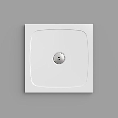 Duschwanne / Duschtasse Nordona® SIMPLEX, quadratisch 80 x 80 cm | Extra-Flache Aufbau-Höhe: 3 cm | Kompatibel mit Nordona® VersoFlat Ablauf
