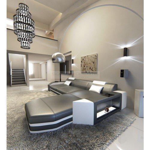 Ledersofa Prato L-Form grau - weiss Ecksofa Design Sofa