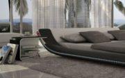SAM® Polsterbett Custo Innocent LED 140 x 200 cm Bett in schwarz - weiß geschwungenes Seitenteil Beleuchtung pflegeleicht 1