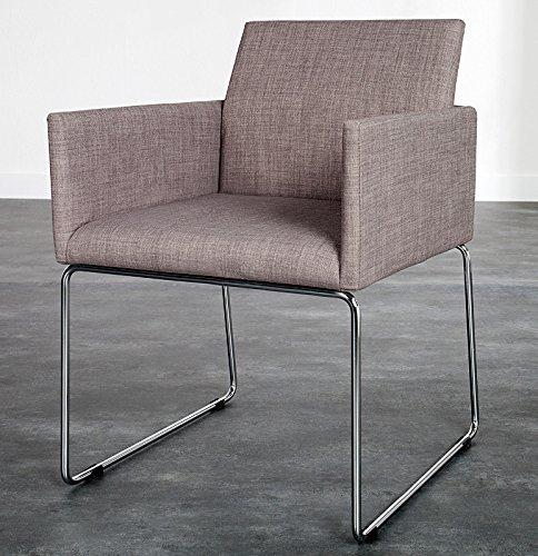 DuNord Design Stuhl Esszimmerstuhl MARCO 2er Set Strukturstoff grau Design Küchenstuhl