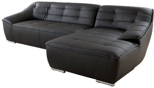 Polsterecke Bountano/3er-Longchair/297x83x159 cm/ Kunstleder Bison schwarz