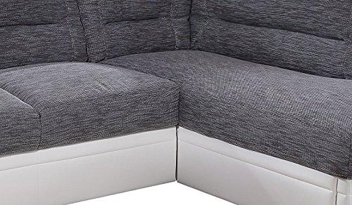 Cotta C182895 C121 D200 Polsterecke 2-er Ottomane mit Bettfunktion und Schubkasten, 253 x 179 cm, tendiger Materialmix in grau mit weiß