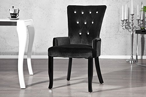 Design Stuhl Barocco mit Armlehne Samtstoff schwarz mit Strasssteinen