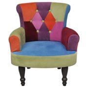 vidaXL Stuhlsessel Sessel Stuhl Retrostil Patchwork bunt Armlehnenstuhl Sofa 1