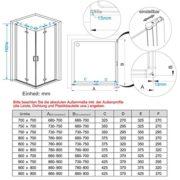 90 x 90 x 195 cm Duschkabine Eckeinstieg Dusche Falttür 180º Duschwand Duschabtrennung NANO Glas 1