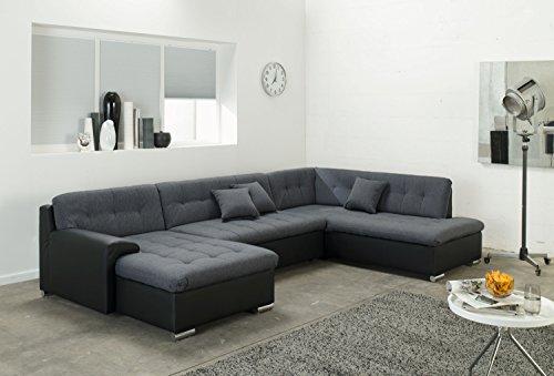 Wohnlandschaft, Couchgarnitur U-Form, ROCKY mit Schlaffunktion 325 x205cm schwarz/grau, Ottomane rechts