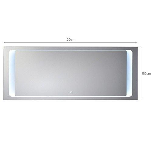 KROLLMANN Badspiegel mit LED Beleuchtung integriertem Touch Sensor, Satinierte Lichtflächen, Wandspiegel 120x50cm