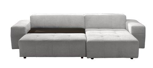 Polsterecke Futoro/3er Bett-Longchair/300x71x178 cm/Solo hellgrau