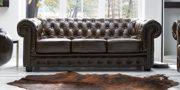 Echt Leder Sofa Chesterfield 3-Sitzer antik braun Couch Exclusive 2