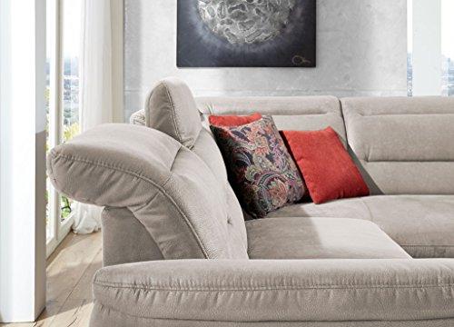 Cavadore 5145 Polsterecke Bontlei, 3-Sitzer mit Bettfunktion echt bezogen links, Ottomane mit Stauraum rechts inklusive Kopfteilverstellung, 261 x 88 x 237 cm, Toro silver 92