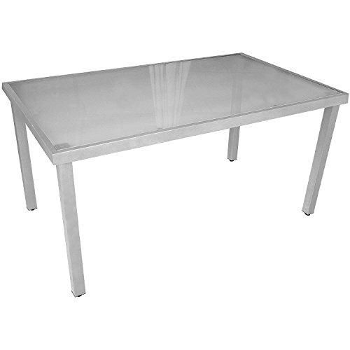 Lagerräumung - Gartentisch Aluminium Glastisch mit satinierter Glasplatte Silbergrau 150x90cm Gartenmöbel Terrassenmöbel Balkonmöbel Beistelltisch