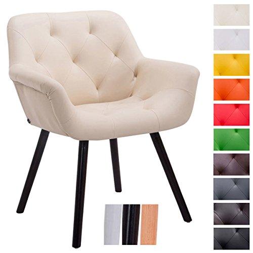 CLP Besucher-Stuhl CASSIDY, Kunstleder-Bezug, belastbar bis 150 kg, Retro-Stuhl mit Armlehne, sesselförmiger Sitz, gepolstert, Sitzhöhe 45 cm Creme, Holzgestell Farbe coffee