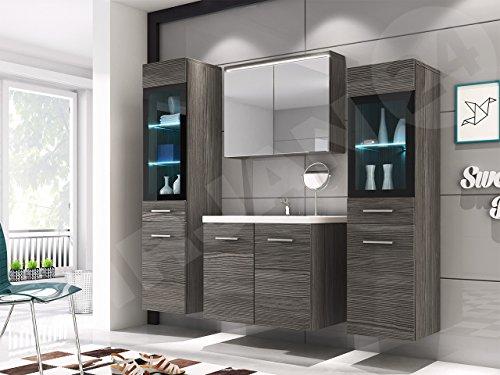 Badmöbel Set Udine II mit Waschbecken und Siphon, Modernes Badezimmer, Komplett, Spiegelschrank, Waschtisch, Hochschrank, Möbel (mit Weißer LED Beleuchtung, Bodega)