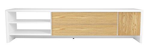 Tenzo 5943-454 Profil Designer TV Bank, 44 x 180 x 47 cm, weiß / eiche furniert