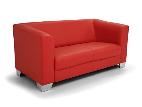CHICAGO 2er Sofa / Ledersofa, rot